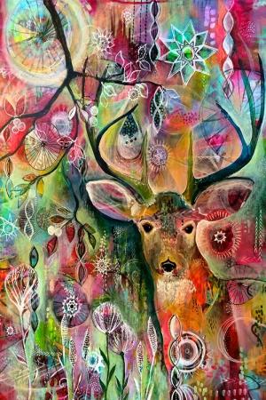 Geyik-11 Hayvanlar Modern Sanat Kanvas Tablo