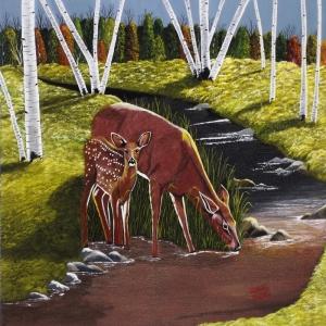 Geyik-45 Yavru Ceylan Hayvanlar Modern Sanat Kanvas Tablo