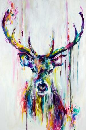 Geyik-6 Hayvanlar Modern Sanat Kanvas Tablo