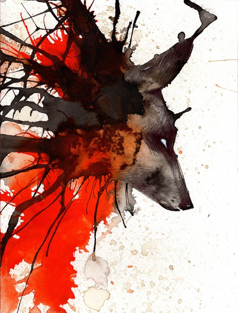 Geyik Abstract Dijital ve Fantastik Kanvas Tablo
