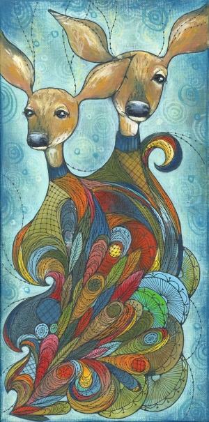 Geyikler Yağlı Boya Sanat Kanvas Tablo