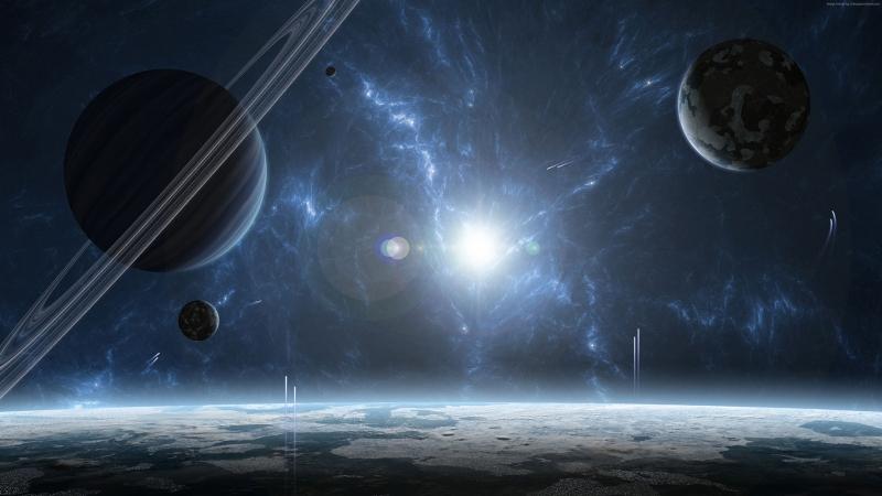Gezegenler Uzay Yıldızlar Galaxy 5 Dünya & Uzay Kanvas Tablo
