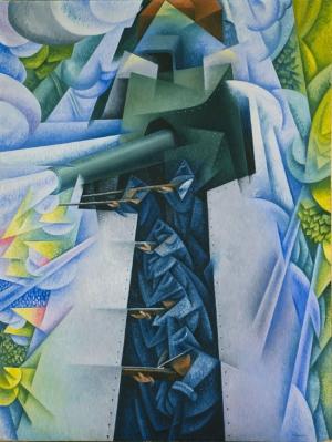 Gino Severini Tren Soyut Yağlı Boya Klasik Sanat Canvas Tablo
