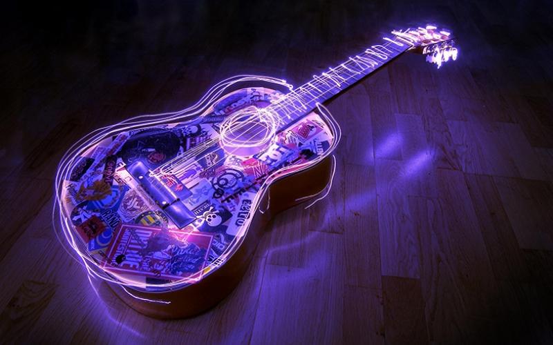 Gitar Işıklar Müzik Yağlı Boya Sanat Kanvas Tablo