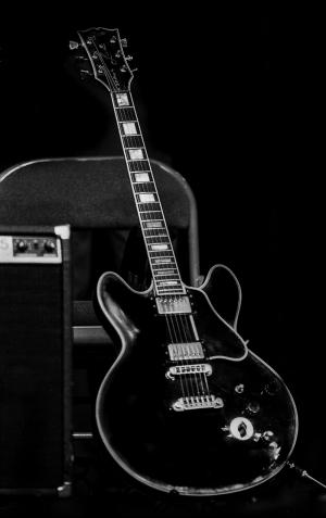 Gitar Siyah Beyaz Fotoğraf Kanvas Tablo