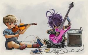 Gitar ve Keman Müzik Bebek & Çocuk Dünyası Kanvas Tablo