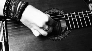 Gitarist 3 Siyah Beyaz Fotoğraf Kanvas Tablo