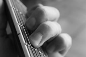 Gitarist Siyah Beyaz Fotoğraf Kanvas Tablo