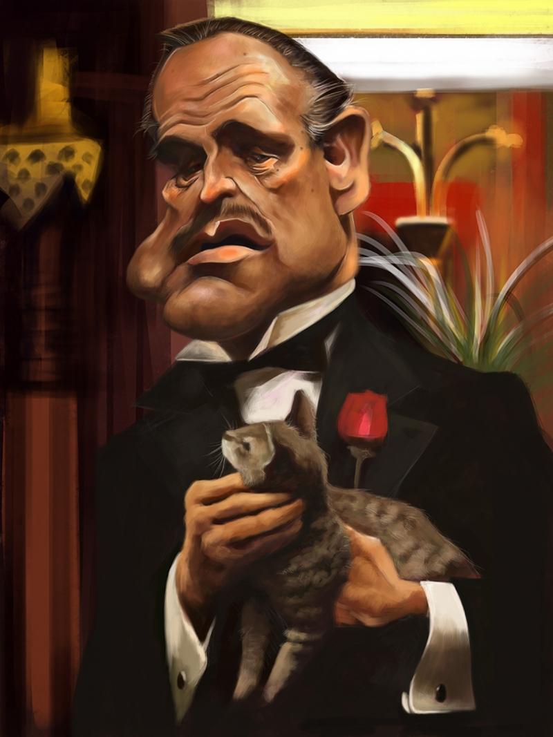 Godfather Marlon Brando Film Karikatur Popüler Kültür Kanvas Tablo
