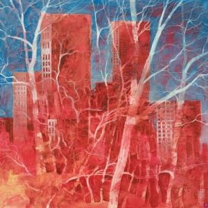 Gök Mavisi Altında Antik Kuleler Soyut Abstract Sanat Kanvas Tablo