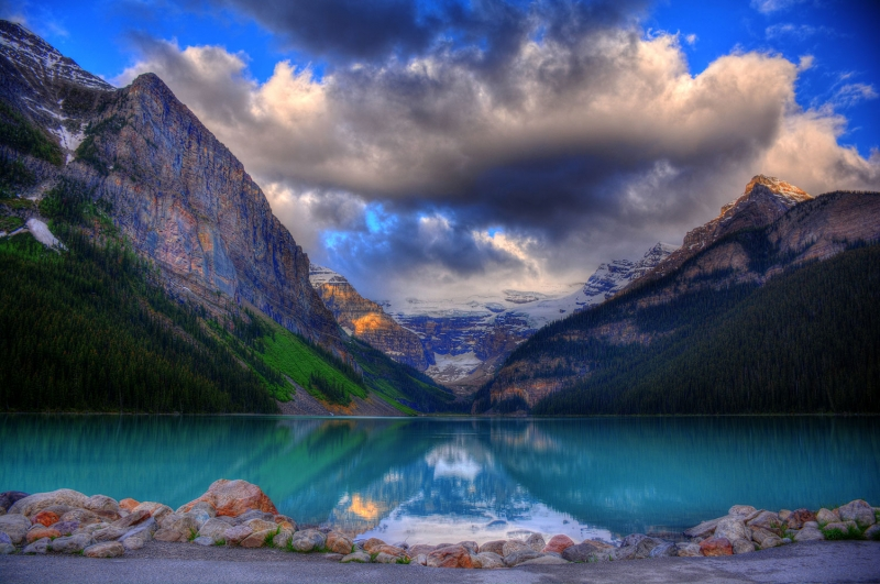 Göl Dağ Orman 2 Berrak Su Güzel Doğa Manzaraları Kanvas Tablo