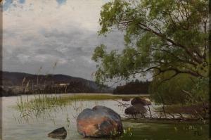 Göl Kenarı Doğa Manzarası Kanvas Tablo