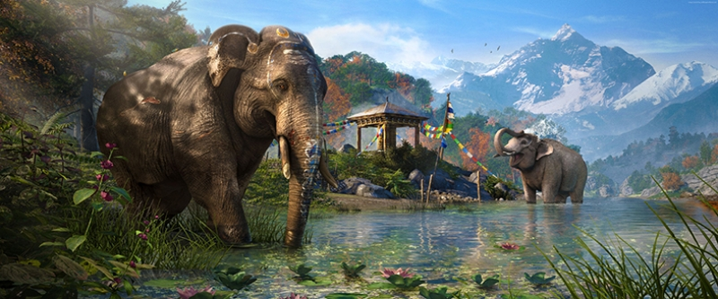Göl Kıyısında Yıkanan Filler Doğa Manzaraları Kanvas Tablo
