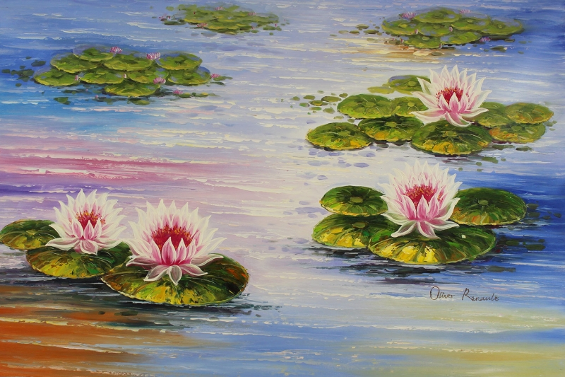 Göl Zambakları 1 Yağlı Boya Sanat Kanvas Tablo