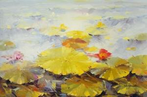 Göl Zambakları 4 Yağlı Boya Sanat Kanvas Tablo