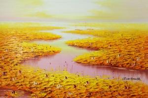 Göl Zambakları 5 Yağlı Boya Sanat Kanvas Tablo