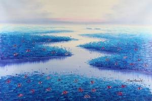 Göl Zambakları 6 Mavi  Yağlı Boya Sanat Kanvas Tablo