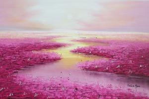 Göl Zambakları 7 Fuşya  Yağlı Boya Sanat Kanvas Tablo