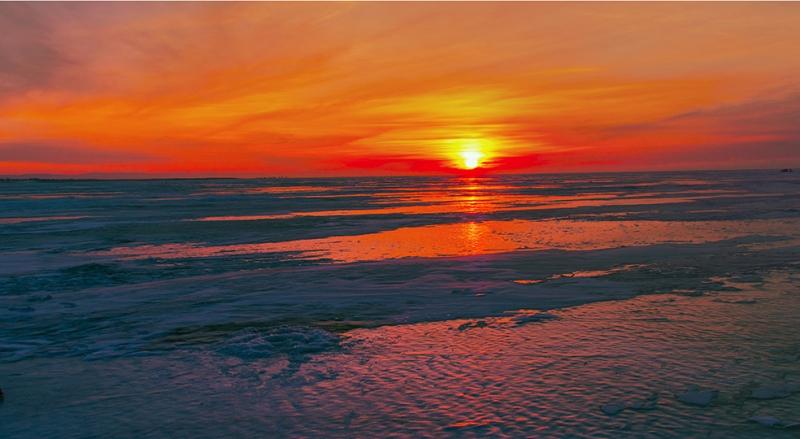 Gölde Gün Batımı Doğa Manzaraları Kanvas Tablo