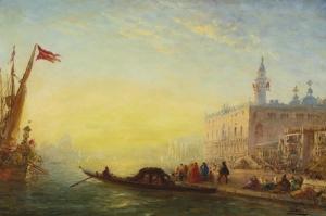 Gondol Felix Ziem-1851, Klasik Sanat kanvas Tablo