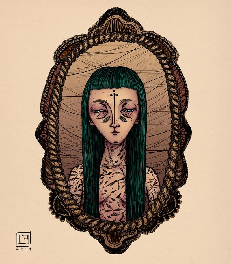Gothik Kız Çizim İllustrasyon Popüler Kültür Kanvas Tablo