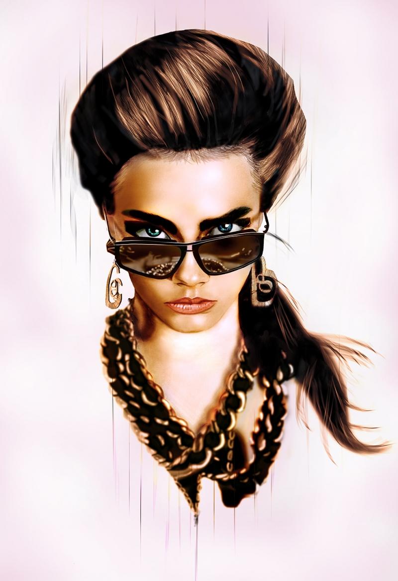 Gözlüklü Kadın Popüler Kültür Kanvas Tablo