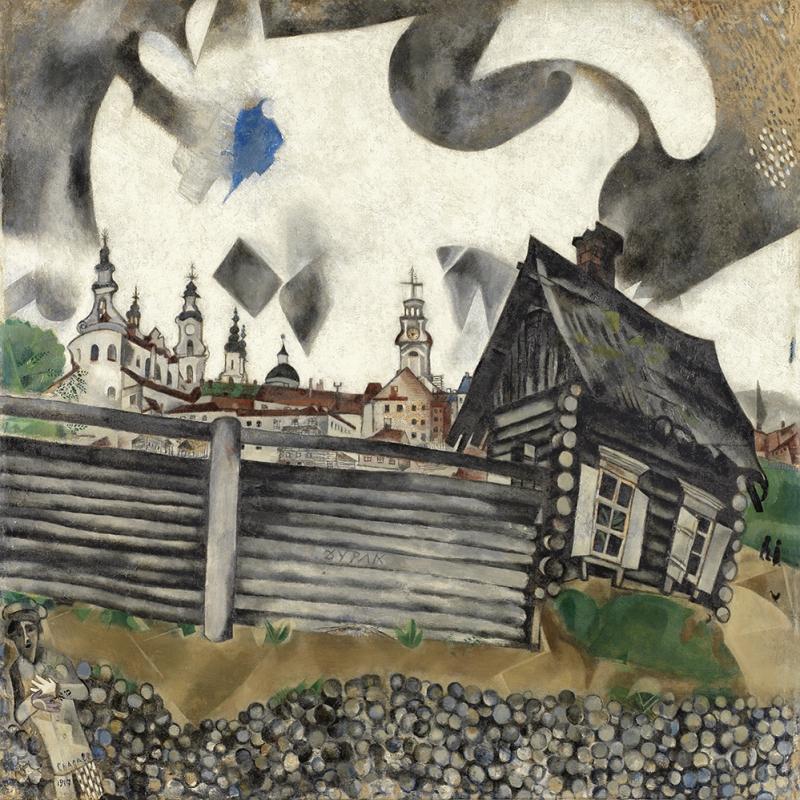 Gri Ev Marc Chagall The Grey House Klasik Sanat Kanvas Tablo