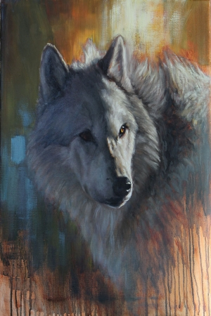 Gri Kurt-1 Hayvanlar Klasik Sanat Kanvas Tablo