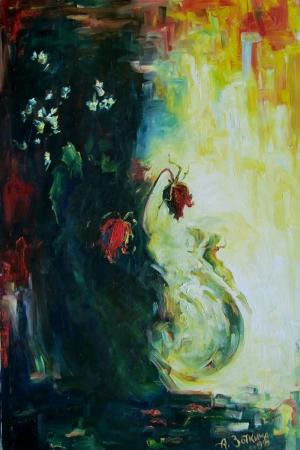 Güller 11 Pembe, Kırmızı, Beyaz Dekoratif Kanvas Tablo