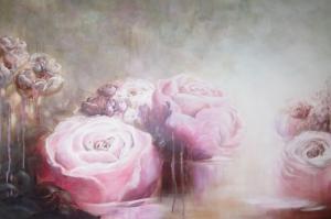 Güller 5 Pembe Kırmızı Beyaz Yağlı Boya Sanat Kanvas Tablo