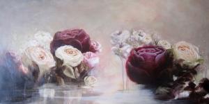 Güller 8 Pembe Kırmızı Beyaz Yağlı Boya Sanat Kanvas Tablo
