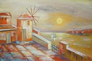 Gün Batımı Değirmen Sahil Yelkenliler Yağlı Boya Sanat kanvas Tablo