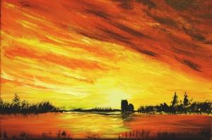 Gün Batımı HD Doğa Manzaraları 1 Yağlı Boya Sanat kanvas Tablo