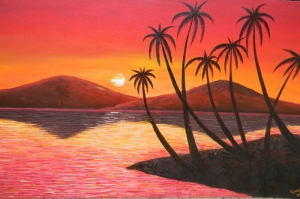 Gün Batımı Manzara 2 Yağlı Boya Sanat Kanvas Tablo