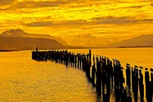 Gün Batımı Manzarası İskele Sarı Kanvas Tablo