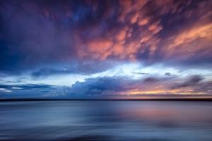 Gün Batımı Manzarası Kızıl Mavi Doğa Kanvas Tablo