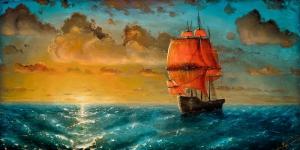 Gün Batımı Renkli Yelkenli Tekneler 2 Deniz Doğa Manzarası Yağlı Boya Sanat Kanvas Tablo