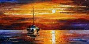 Gün Batımı Renkli Yelkenli Tekneler 5 Deniz Doğa Manzarası Yağlı Boya Sanat Kanvas Tablo