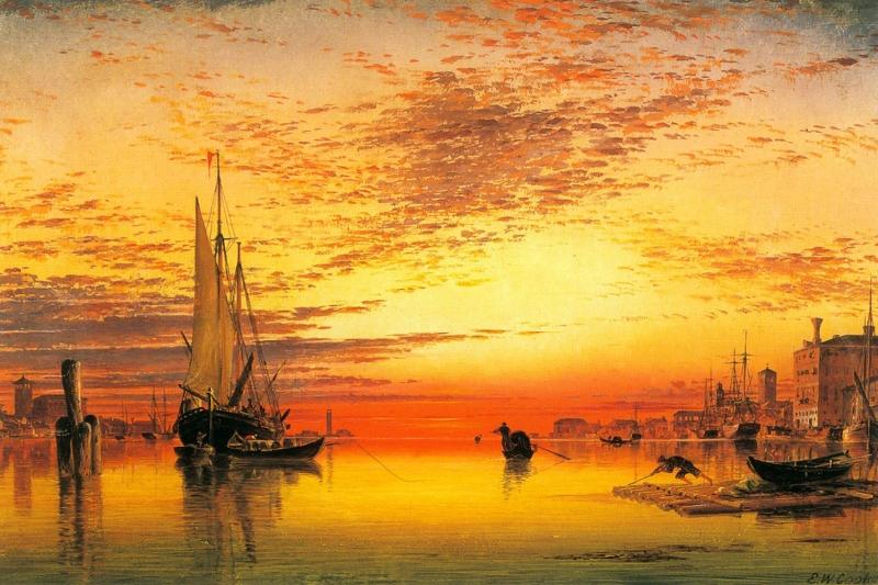 Gun Batimi Renkli Yelkenli Tekneler 7 Deniz Doga Manzarasi Yagli