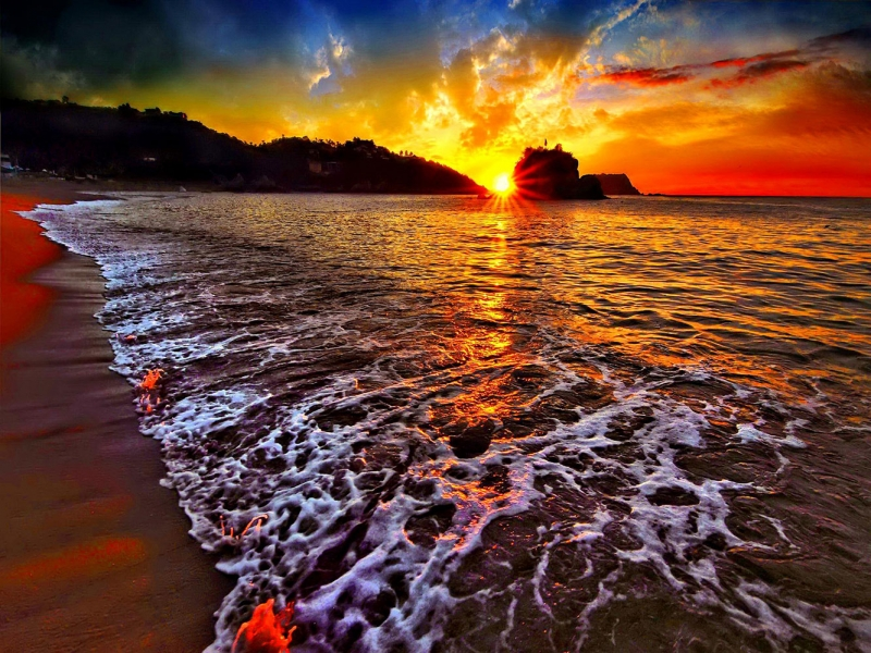 Gün Batımı Sahil 2 Doğa Manzaraları Kanvas Tablo