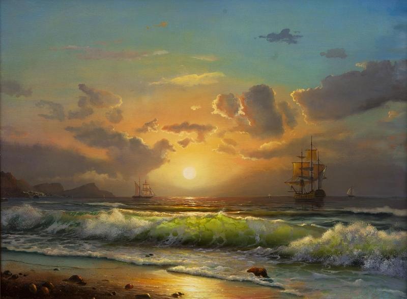 Gün Batımı Sahil 4 Doğa Manzaraları Kanvas Tablo