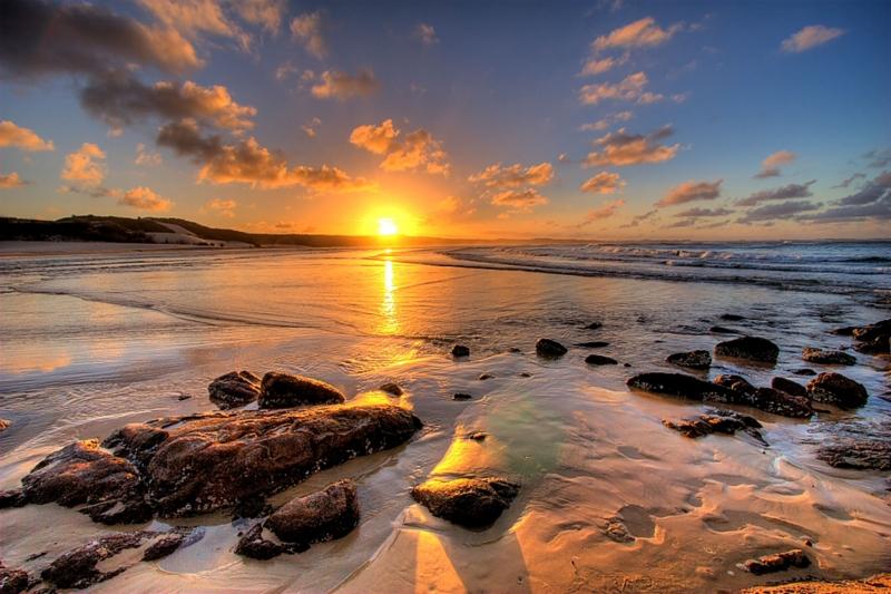 Gün Batımı Sahil 5 Doğa Manzaraları Kanvas Tablo