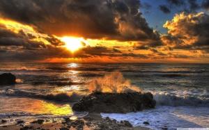 Gün Batımı Sahil 7 Doğa Manzaraları Kanvas Tablo