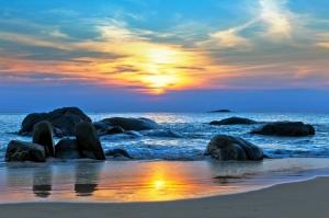 Gün Batımı ve Okyanus Kıyısı Doğa Manzaraları Kanvas Tablo