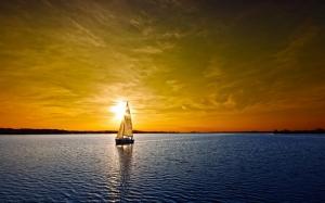 Gün Batımı ve Yelkenli Doğa Manzaraları Kanvas Tablo
