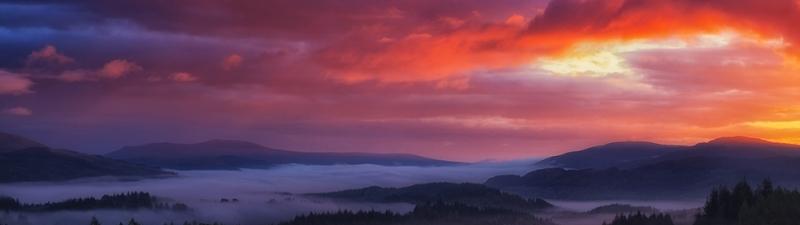 Gün Doğumu Panaromik Doğa Manzaraları Kanvas Tablo