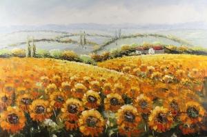 Gün Döndü Ayçiçeği 4 Yağlı Boya Sanat Kanvas Tablo
