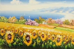Gün Döndü Ayçiçeği 5 Yağlı Boya Sanat Kanvas Tablo