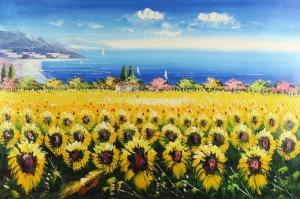 Gün Döndü Ayçiçeği 6 Yağlı Boya Sanat Kanvas Tablo