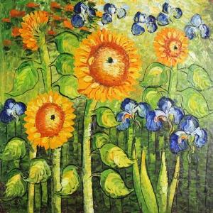 Gün Döndü, Ayçiçeği Tarlası 1 Dekoratif Doğa Manzarası Kanvas Tablo